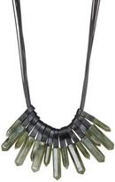 Natasha Accessories Stone Drop Multi Strand Leather Necklace