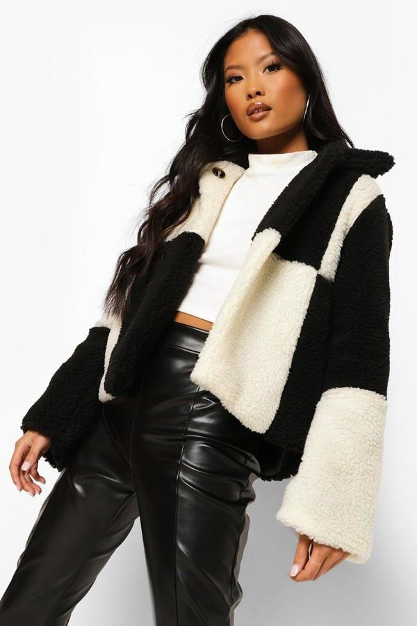 boohoo Petite Checkerboard Teddy Coat