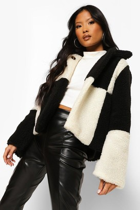 boohoo Petite Checkerboard Teddy Coat