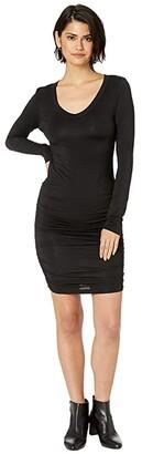 Hard Tail Side Shirred Dress (Black) Women's Clothing