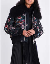 Sacai Floral-embroidered satin bomber jacket