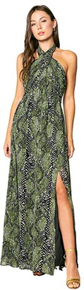 Lavender Brown Olive Snake Printed Maxi Dress with Halter Tie Neck (Olive/Black) Women's Clothing