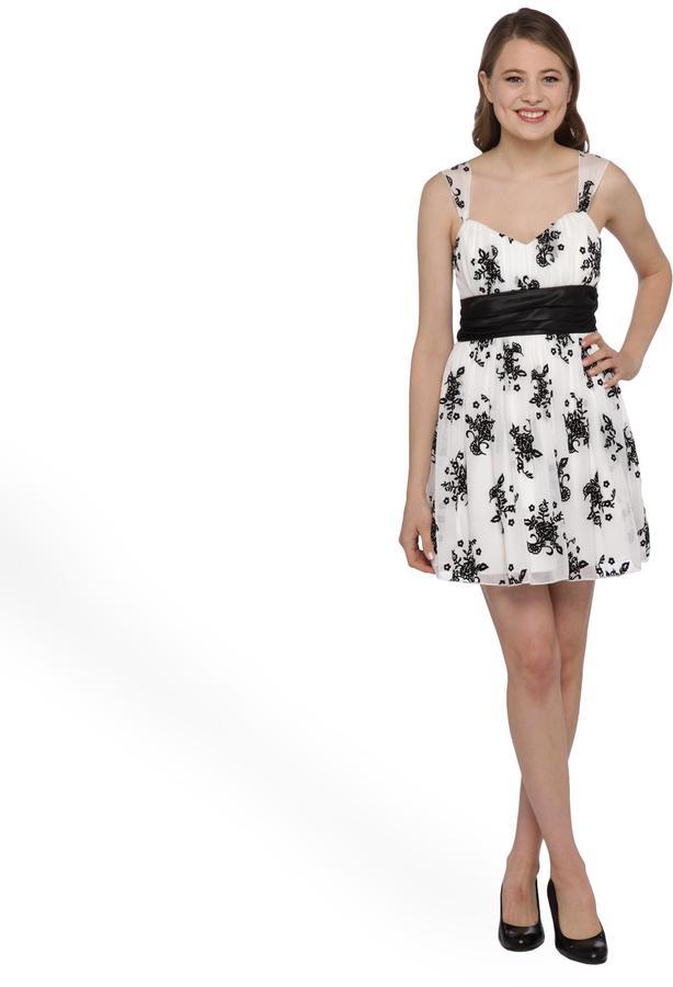 Trixxi Junior's Flocked Chiffon Party Dress