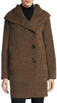 Sofia Cashmere Envelope-Collar Button-Front Wool-Blend Cocoon Coat