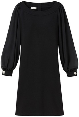Lafayette 148 New York Linden Sheer-Sleeve Combo Dress