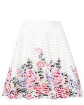 Quiz Cream And Pink Flower Print Hem Skater Skirt