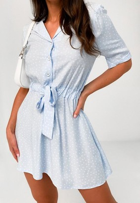 Missguided Blue Polka Dot Tie Waist Shirt Dress
