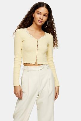Topshop Yellow Textured Lace Trim Cardigan
