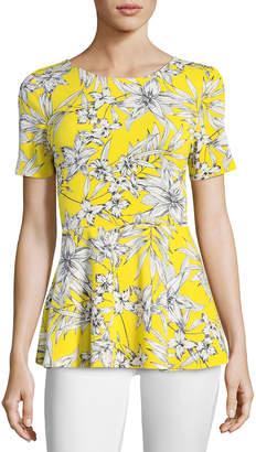 5twelve Floral-Print Short-Sleeve Peplum Blouse