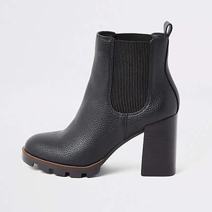 27e1420f9c2 Black chunky heel chelsea boots