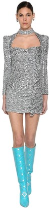 Giuseppe Di Morabito SEQUINED MINI DRESS W/ RUFFLES