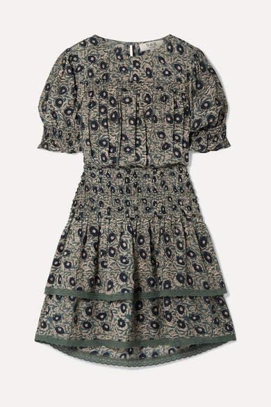 Sea Lucia Shirred Floral-print Cotton-blend Voile Mini Dress - Gray green