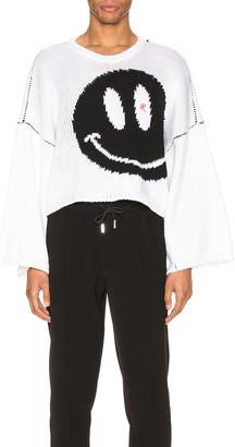 Raf Simons Smiley Oversized Sweater in White | FWRD