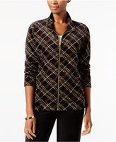 Karen Scott Plaid Velour Mock-Neck Jacket, Created for Macy's