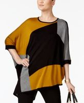 Alfani Colorblocked Asymmetrical Poncho, Created for Macy's