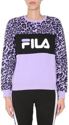 Fila Logo Print Round Neck Sweatshirt
