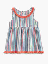 Lucky Brand Stripe Top With Fringe