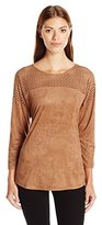 NY Collection Women's 3/4 Sleeve Scoop Neck Suede Top with Laser Cut Yoke
