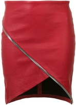 RtA Ivy Asymmetric Leather Skirt - Red