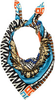 Printed silk-satin scarf