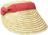 San Diego Hat Company Women's 4-Inch Brim Wheat Straw Visor with Pop Color