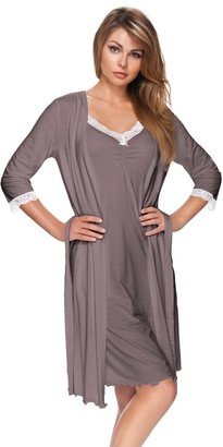 e.FEMME Women's Dressing Gown Kaja 178 with 3/4 Sleeve Made of Viscose - Color: Taupe