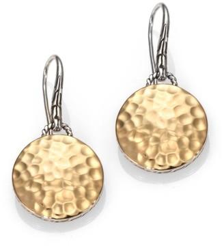 John Hardy Palu 18K Yellow Gold & Sterling Silver Hammered Disc Drop Earrings