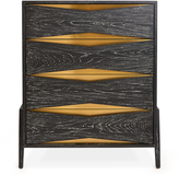 "Jonathan Adler Black Wooden 4-Drawer Chest with Brass Accents ""Berlin"""