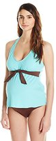 Prego Maternity Wear Women's Maternity Solid Halter Style Tankini