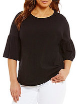 Vince Camuto Two By Plus Relaxed Bell Sleeve Slub Tee