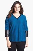 Sejour 'Dove' Faux Leather Trim Pullover (Plus Size)