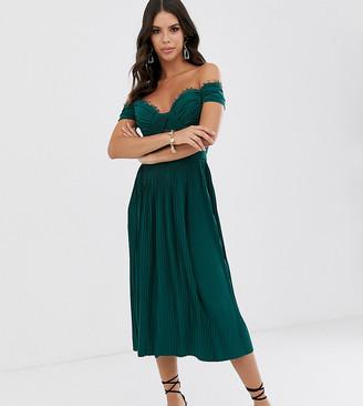 Asos Tall ASOS DESIGN Tall lace and pleat bardot midi dress
