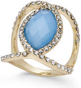 INC International Concepts Gold-Tone Faceted Blue Stone and Pavé Statement Ring, Created for Macy's