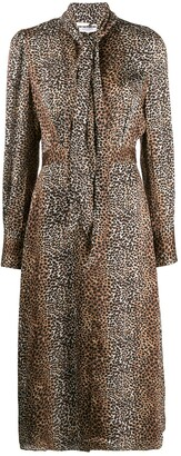 Equipment Animal Print Midi Dress