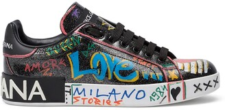 Dolce & Gabbana Portofino glitter graffiti sneakers