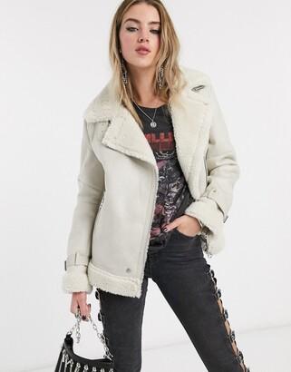 Bershka shearling aviator coat in ecru