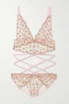 Thumbnail for your product : Coco de Mer Elizabeth Satin-trimmed Cutout Embroidered Tulle Bodysuit - Pink