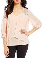 I.N. San Francisco Flyaway Lace-Inset V-Neck 3/4-Sleeve Top