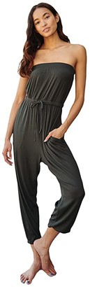 Spiritual Gangster Carmela Rib Cinched Jumpsuit (Dusty Olive) Women's Jumpsuit & Rompers One Piece