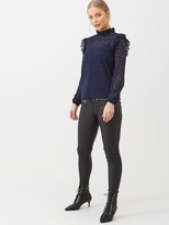Very Lace Ruffle Shoulder Top - Navy