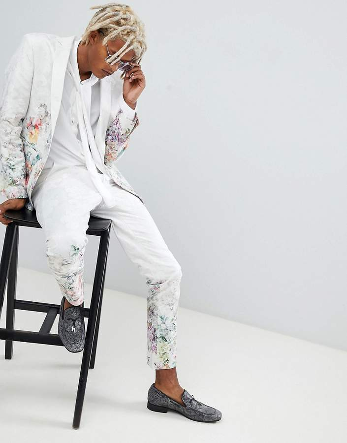 Asos Design Skinny Suit Pants In Floral Printed White Jacquard