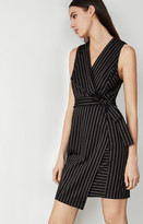 BCBGMAXAZRIA Pinstripe Crossover Dress