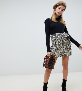 Lost Ink Petite mini skirt with bow tie waist in leopard print-Multi