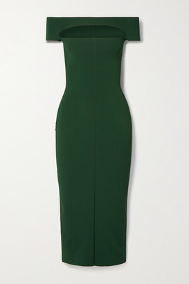 KHAITE Marika Off-the-shoulder Cutout Stretch-knit Midi Dress - Dark green