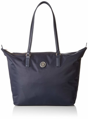 Tommy Hilfiger Womens Poppy Tote Canvas and Beach Tote Bag Blue (Tommy Navy)