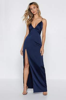 Nasty Gal Womens Look At You Satin Maxi Dress - navy - 12