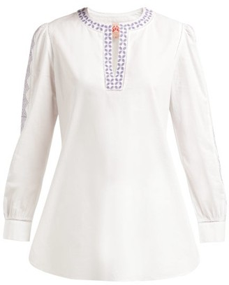 Le Sirenuse Le Sirenuse, Positano - Kate Embroidered Cotton Blouse - Womens - White Multi