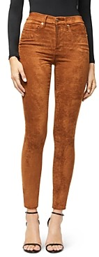 Good American Good Waist Faux Suede Pants in Tobacco01
