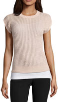 WORTHINGTON Worthington Short Sleeve Crew Neck Pullover Sweater