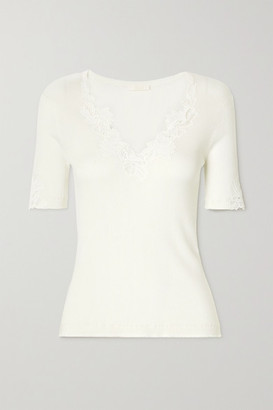 Chloé Guipure Lace-trimmed Ribbed Cotton-jersey Sweater - White